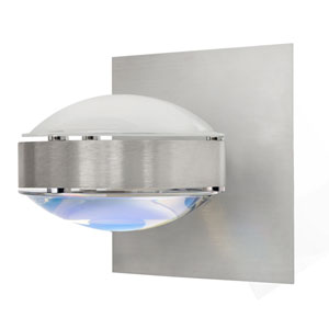 Optos Brushed Aluminum One-Light Halogen Wall Sconce with Frost and Warm Dicro Glass