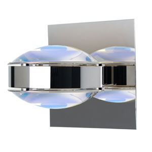 Optos Chrome One-Light Halogen Wall Sconce with Warm Dicro Glass