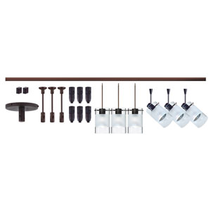 Scope Bronze Six-Light LED Monorail Fixture Kit with Clear and Frost Glass