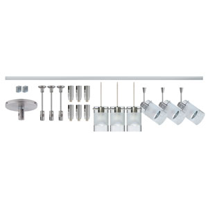 Scope Satin Nickel Six-Light LED Monorail Fixture Kit with Clear and Frost Glass