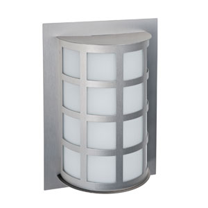 Scala Brushed Aluminum One-Light Incandescent Wall Sconce with White Acrylic Shade