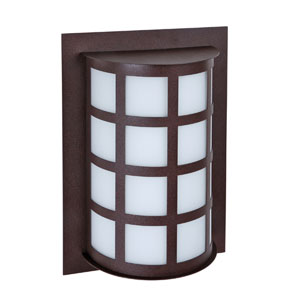 Scala Bronze One-Light Incandescent Wall Sconce with White Acrylic Shade