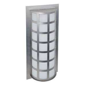 Scala Brushed Aluminum Two-Light Incandescent Wall Sconce with White Acrylic Shade