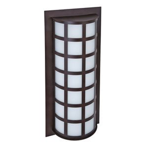 Scala Bronze Two-Light Incandescent Wall Sconce with White Acrylic Shade
