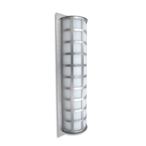 Scala 28 Brushed Aluminum Three-Light Incandescent Wall Sconce with White Acrylic Shade