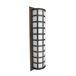 Scala 28 Bronze Three-Light Incandescent Wall Sconce with White Acrylic Shade