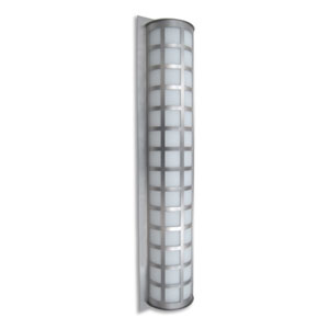 Scala 40 Brushed Aluminum Three-Light Incandescent Wall Sconce with White Acrylic Shade