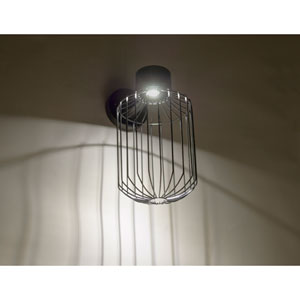 Sultana Black 8-Inch One-Light LED Outdoor Wall Sconce with Black Glass