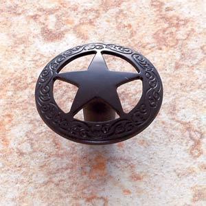 Oil Rubbed Bronze Medium Star Knob with Braided Edge