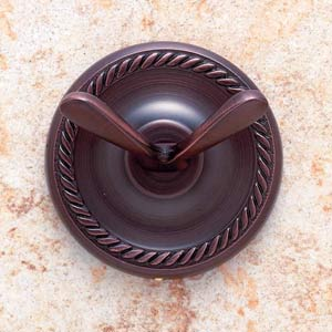 Roped Old World Bronze Double Robe Hook