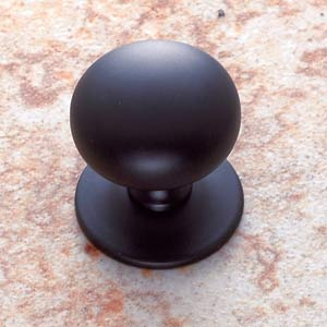 Matte Black 1 1/4-Inch Plymouth Knob with Back Plate