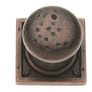 Pompeii Distressed Copper finish Pitted Mushroom Knob w/Round and Square Back Plates