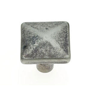 Bedrock Rustic Nickel Finish 1 1/4-Inch Square Distressed Knob