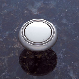 Vintage Satin Nickel Finish 1 1/4-Inch Alloy Knob with White Porcelian Insert