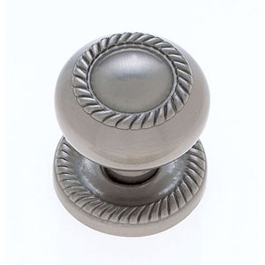 Classic Satin Nickel Finish 1 1/4-Inch Zinc Rope Knob with Back Plate