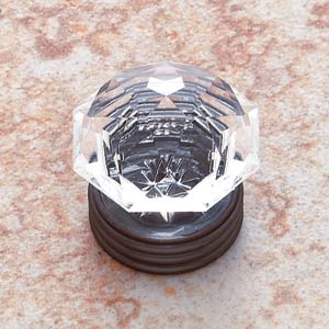 Acrylic Crystal 1 1/2-Inch Knob with Old World Bronze Base