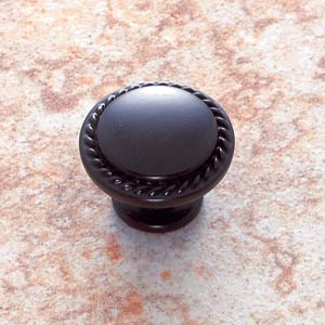 Oil Rubbed Bronze 1 1/4-Inch Rope-Edged Knob
