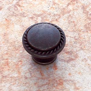 Rust 1 1/4-Inch Rope-Edged Knob