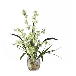Green Dancing Lady Orchid Liquid Illusion Silk Flower Arrangement
