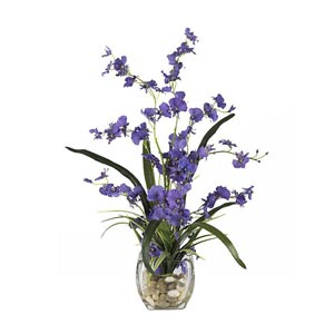 Purple Dancing Lady Orchid Liquid Illusion Silk Flower Arrangement