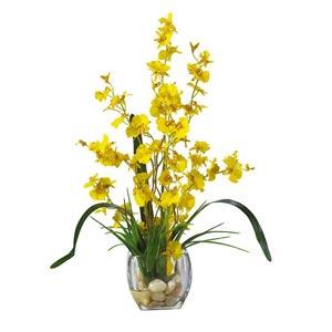 Yellow Dancing Lady Orchid Liquid Illusion Silk Flower Arrangement