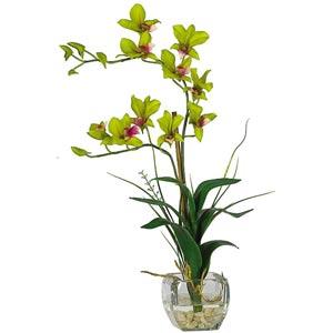 Green Dendrobium with Glass Vase Silk Flower Arrangement