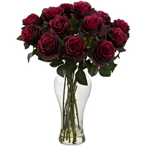 Burgundy Blooming Roses with Vase