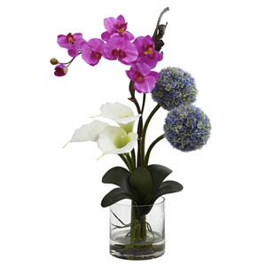 Multicolor Calla, Orchid and Ball Flower Arrangement