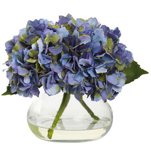 Blue Blooming Hydrangea with Vase