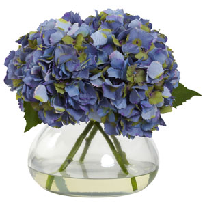 Blue Large Blooming Hydrangea with Vase