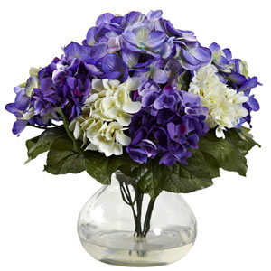 Blue Purple Mixed Hydrangea with Vase