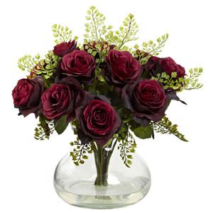Burgundy Rose and Maiden Hair Arrangement with Vase