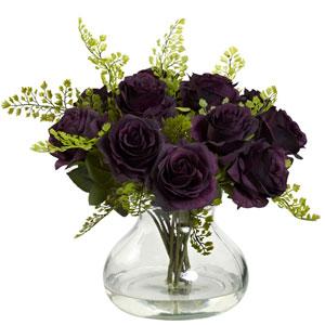 Purple Elegance Rose and Maiden Hair Arrangement with Vase