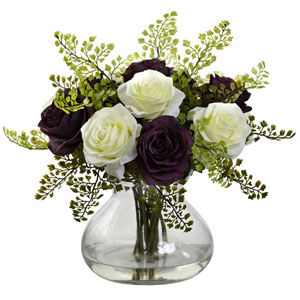 Purple and White Rose and Maiden Hair Arrangement with Vase