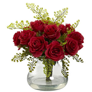 Red Rose and Maiden Hair Arrangement with Vase
