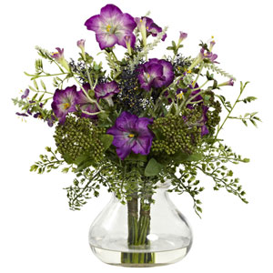Purple Mixed Morning Glory with Vase