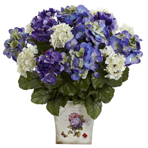 Blue Purple Mixed Hydrangea with Floral Planter