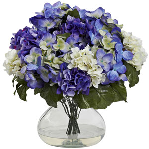 Blue Purple Hydrangea with Large Vase