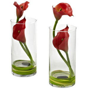 Red Double Calla Lily with Cylinder, Set of Two