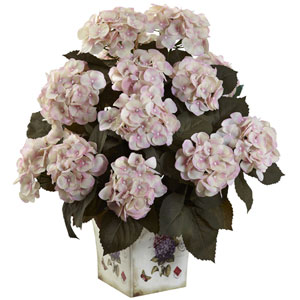 Cream Pink Hydrangea with Large Floral Planter