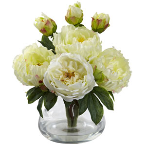 White Peony and Rose with Vase