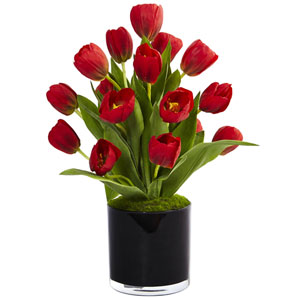 Red Tulips in Black Glossy Cylinder