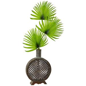 Fan Palm in Open Weave Vase