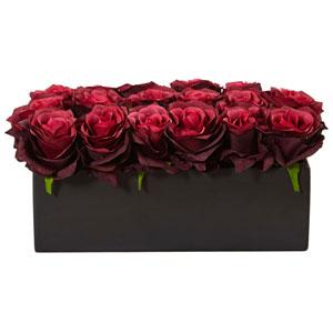Burgundy Roses in Rectangular Planter
