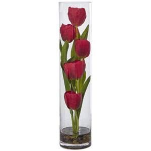 Tulips in Cylinder Glass