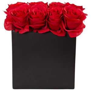 Red Roses Arrangement in Black Vase