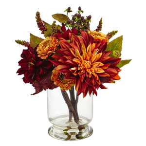 Multicolor Dahlia and Mum with Vase Arrangement