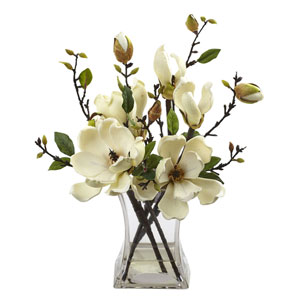 White Magnolia Arrangement with Vase