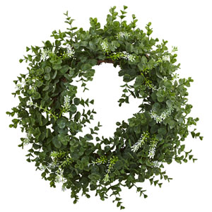 Green 18-Inch Eucalyptus Double Ring Wreath with Twig Base