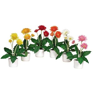 Gerber Daisy with White Vase Silk Flower Arrangements, Set of Six